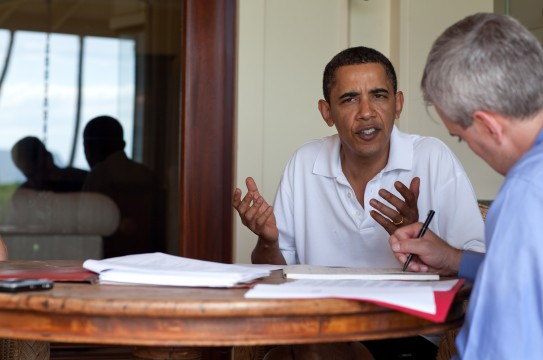 President Barack Obama meets with NSC chief of staff Denis McDonough about updates concerning the attempted terrorist on Christmas Day. This briefing occurred in Kailua, Hawaii on Dec. 29, 2009. The President has received updates throughout his vacation since the incident. (Official White House photo by Pete Souza)
